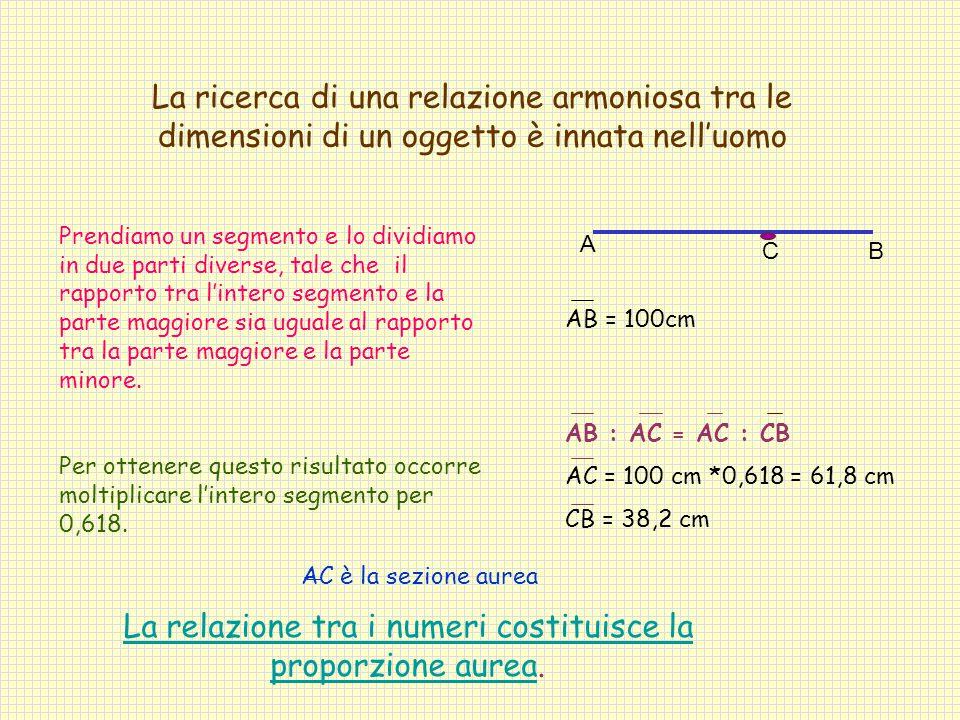 La relazione tra i numeri costituisce la proporzione aurea.