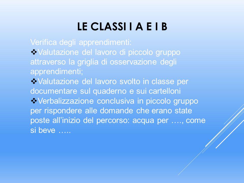 Le classi I A e I B Verifica degli apprendimenti: