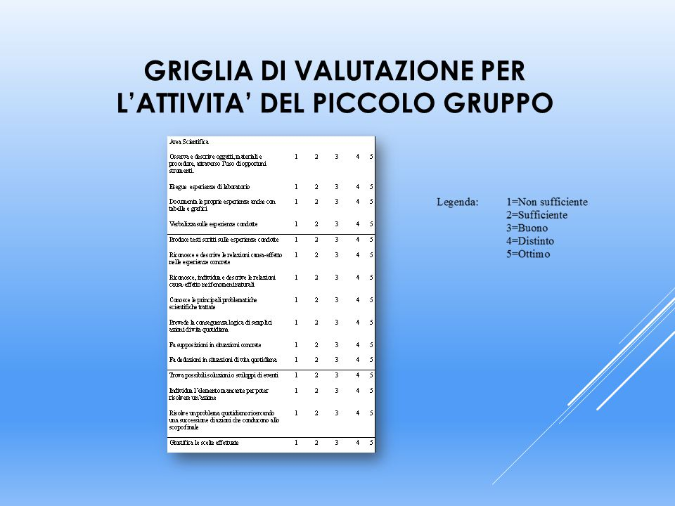 GRIGLIA DI VALUTAZIONE PER L'ATTIVITA' DEL PICCOLO GRUPPO