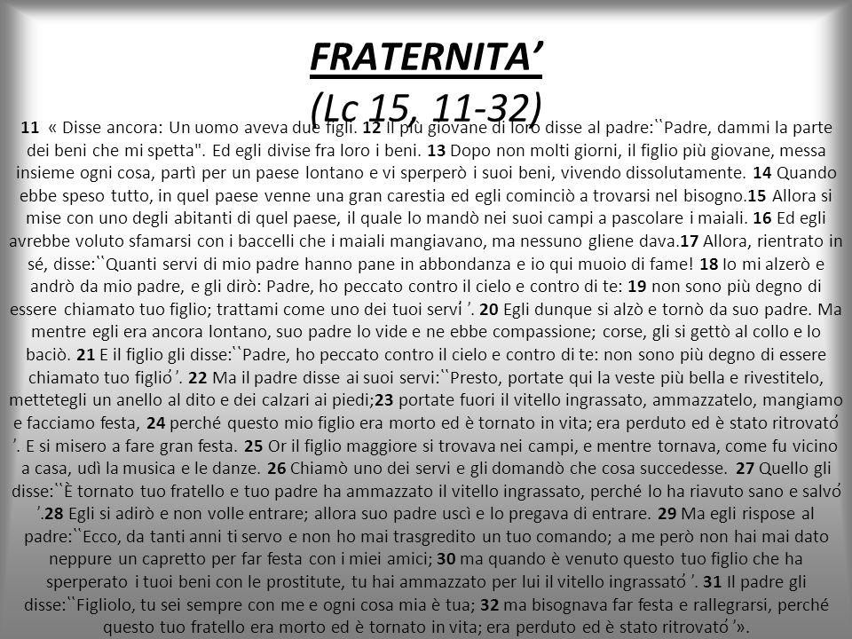 FRATERNITA' (Lc 15, 11-32)