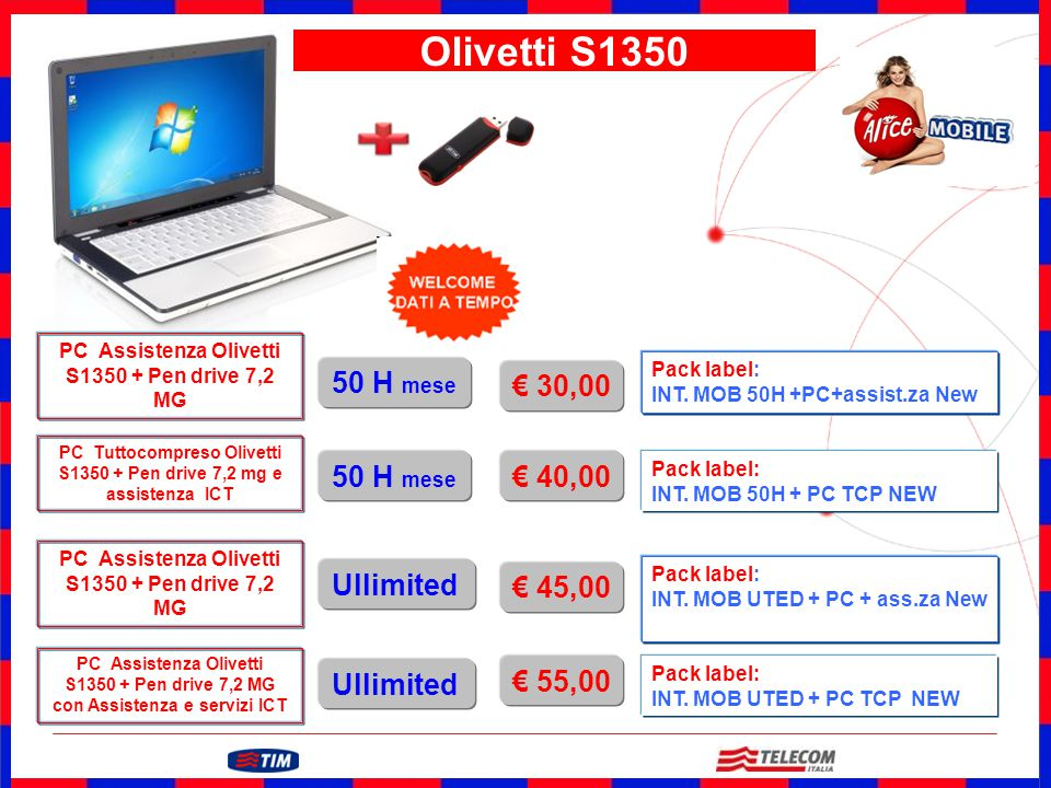 Olivetti S1350 50 H mese € 30,00 50 H mese € 40,00 Ullimited € 45,00