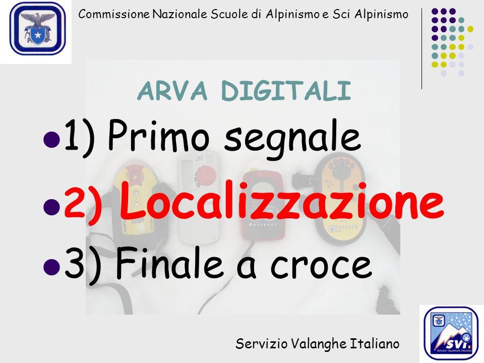 1) Primo segnale 2) Localizzazione 3) Finale a croce ARVA DIGITALI