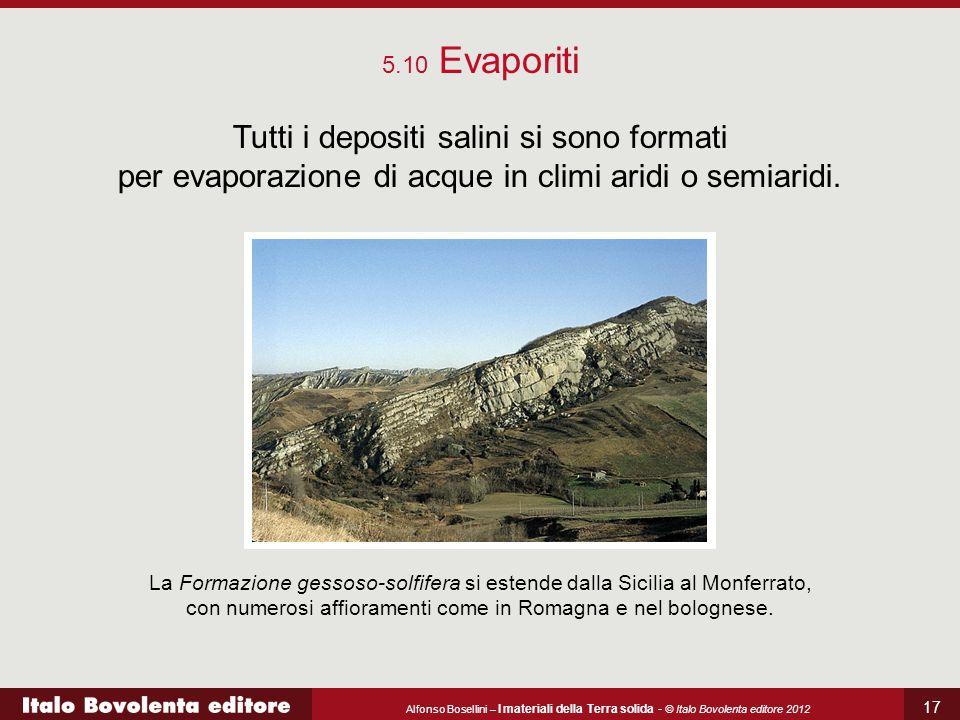 5.10 Evaporiti Tutti i depositi salini si sono formati per evaporazione di acque in climi aridi o semiaridi.