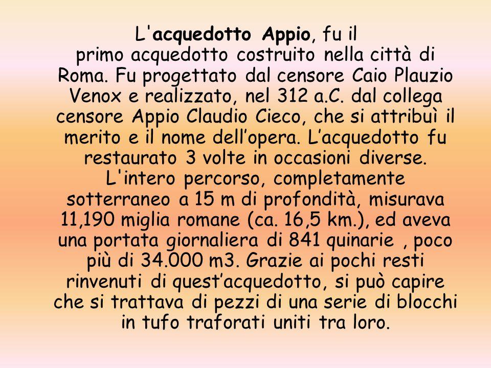 L acquedotto Appio, fu il primo acquedotto costruito nella città di Roma.