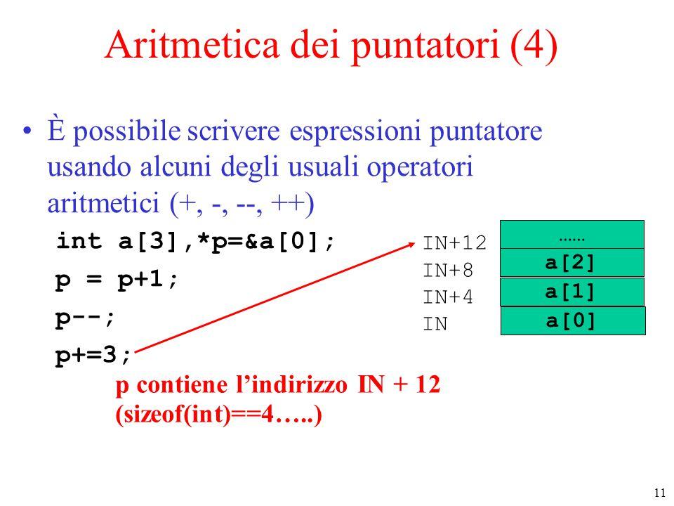 Aritmetica dei puntatori (4)
