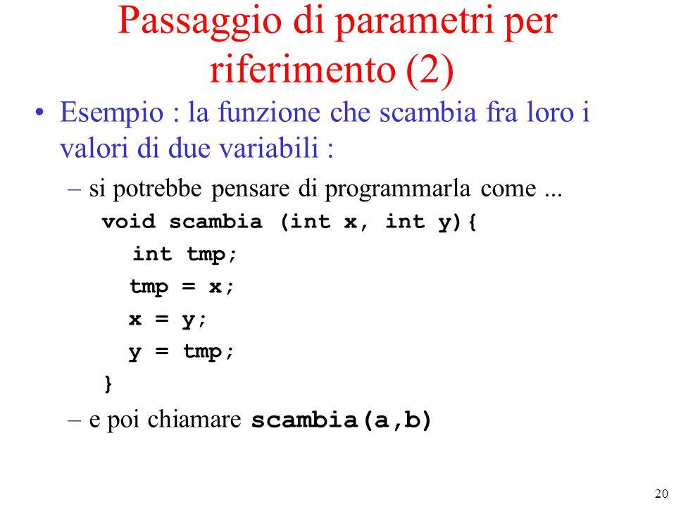 Passaggio di parametri per riferimento (2)