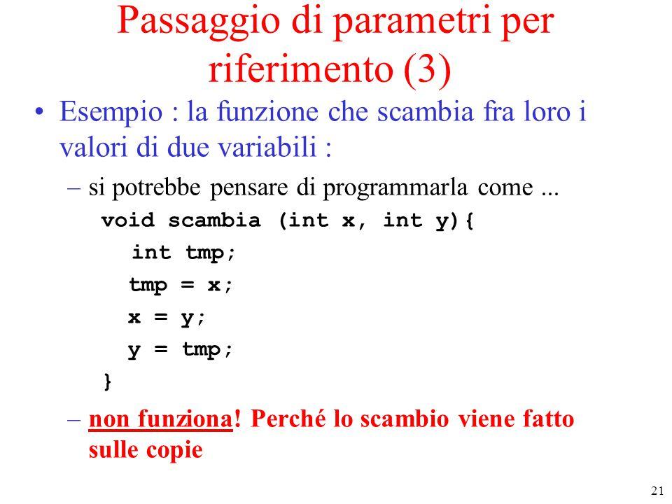 Passaggio di parametri per riferimento (3)