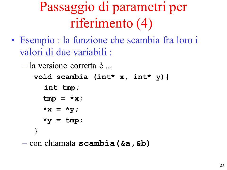 Passaggio di parametri per riferimento (4)