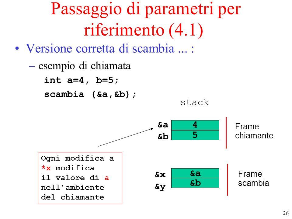 Passaggio di parametri per riferimento (4.1)