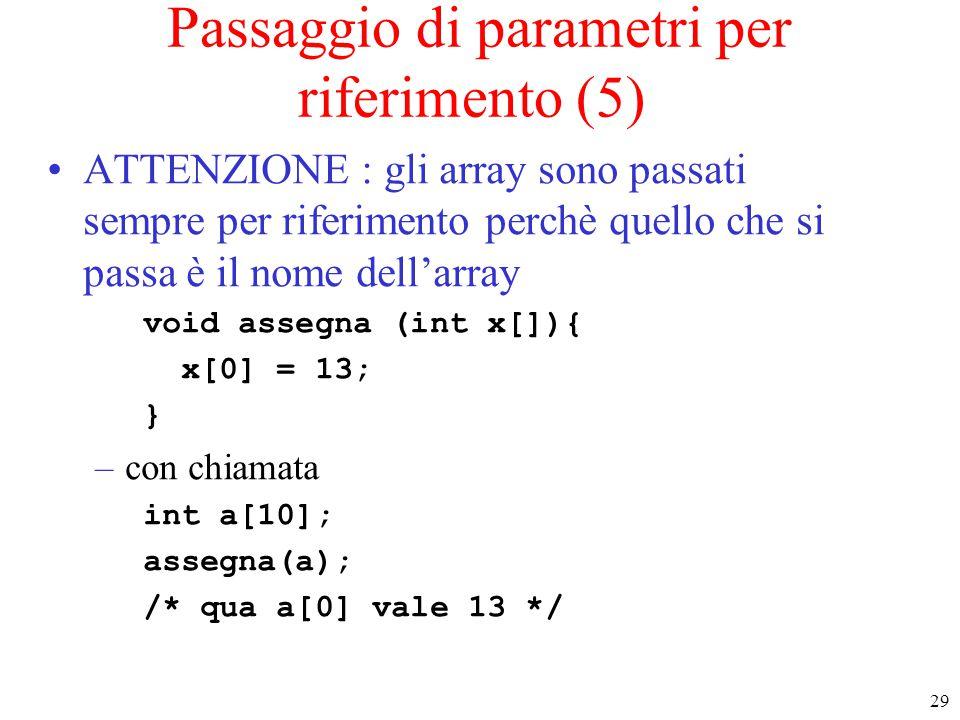 Passaggio di parametri per riferimento (5)
