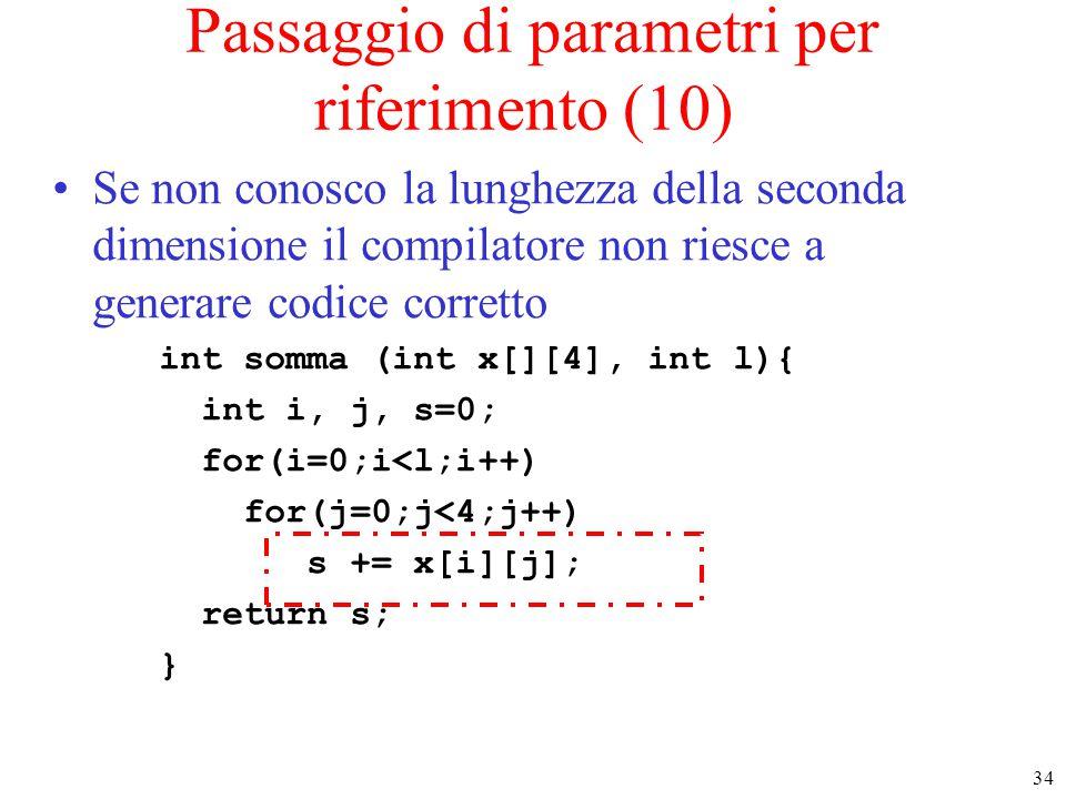 Passaggio di parametri per riferimento (10)