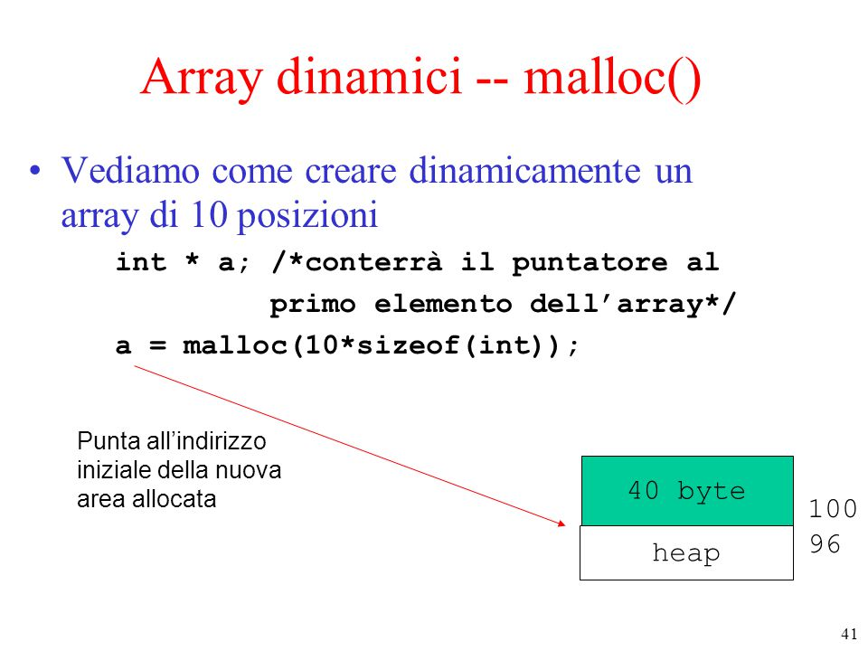 Array dinamici -- malloc()