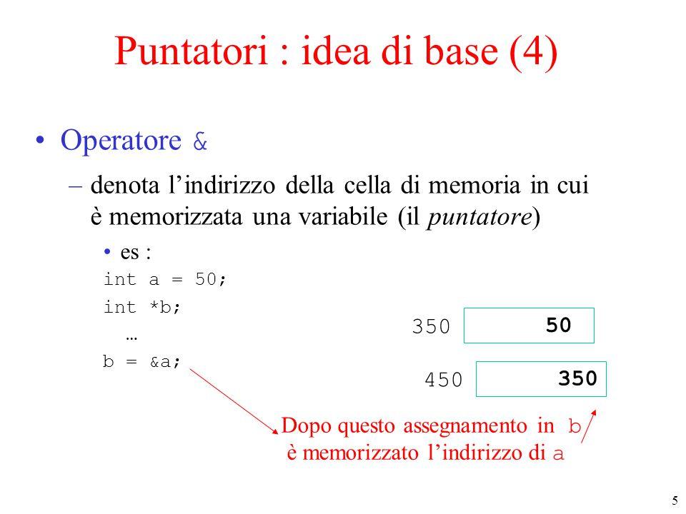Puntatori : idea di base (4)