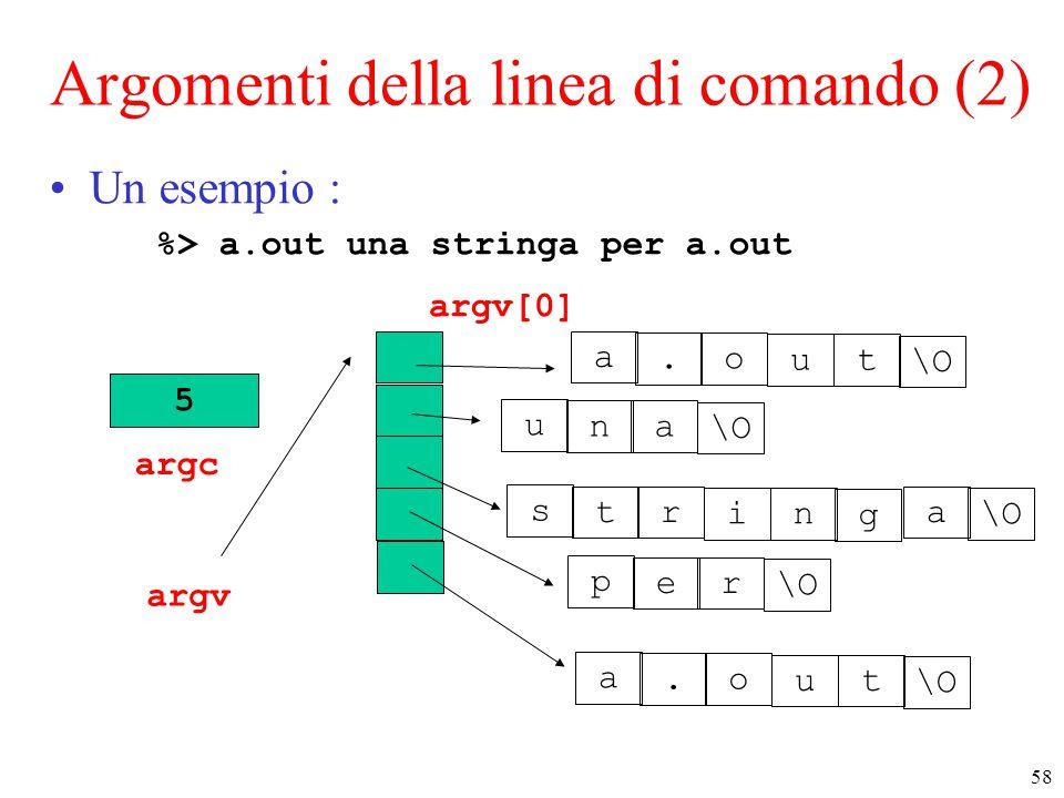 Argomenti della linea di comando (2)