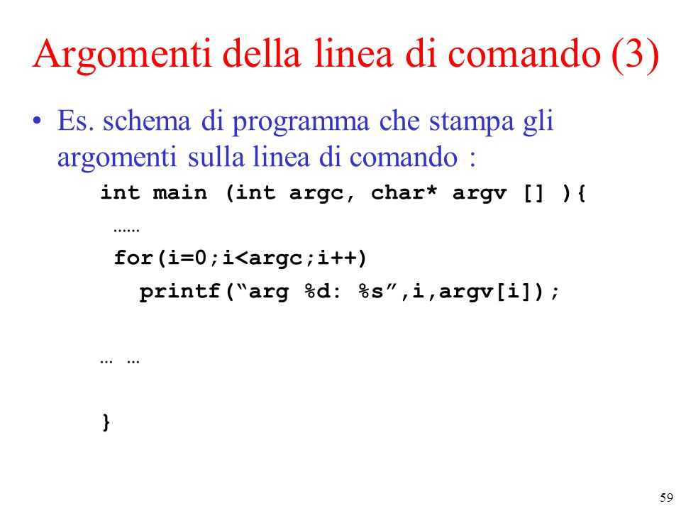 Argomenti della linea di comando (3)