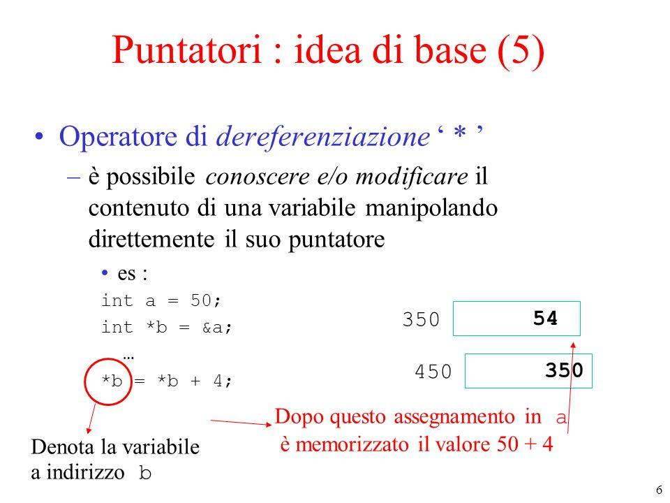 Puntatori : idea di base (5)