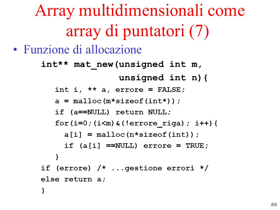 Array multidimensionali come array di puntatori (7)