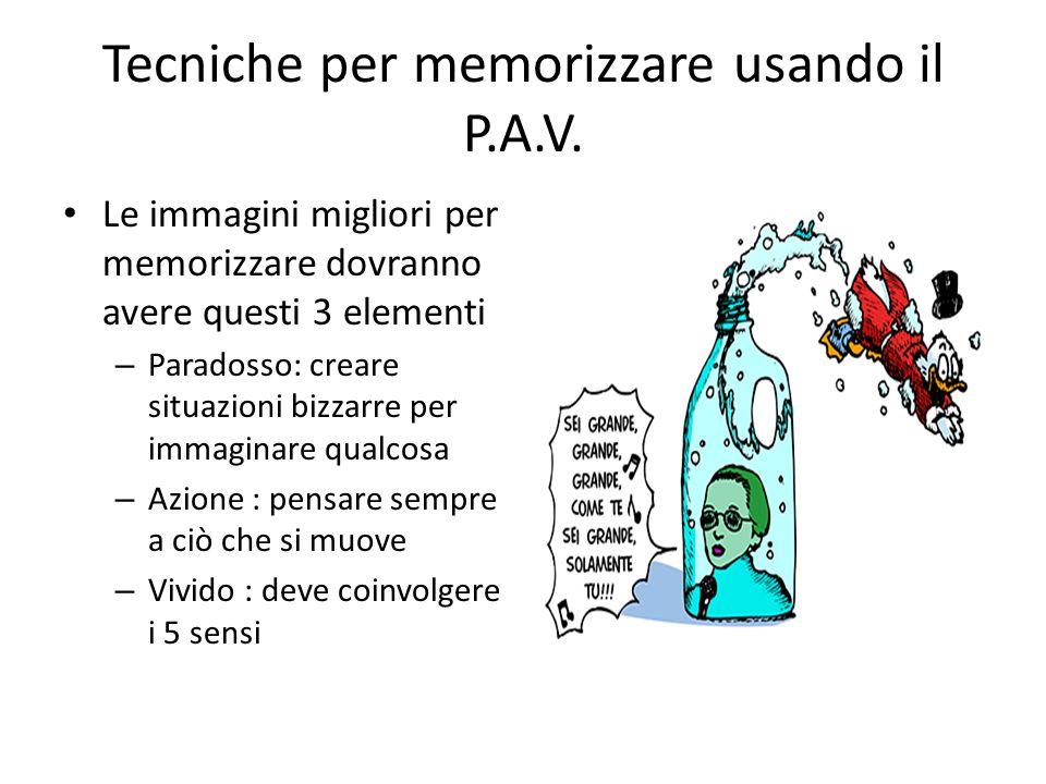 Tecniche per memorizzare usando il P.A.V.