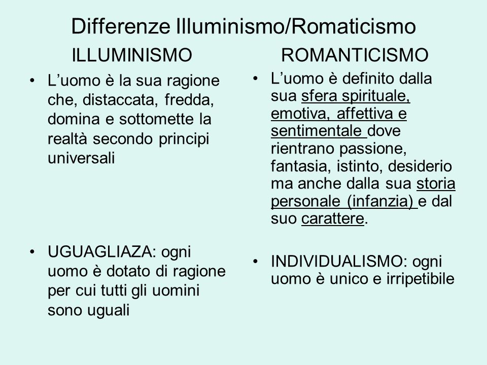 Differenze Illuminismo/Romaticismo
