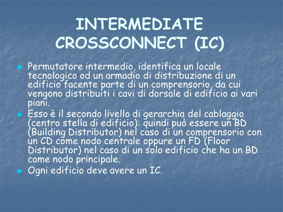 INTERMEDIATE CROSSCONNECT (IC)
