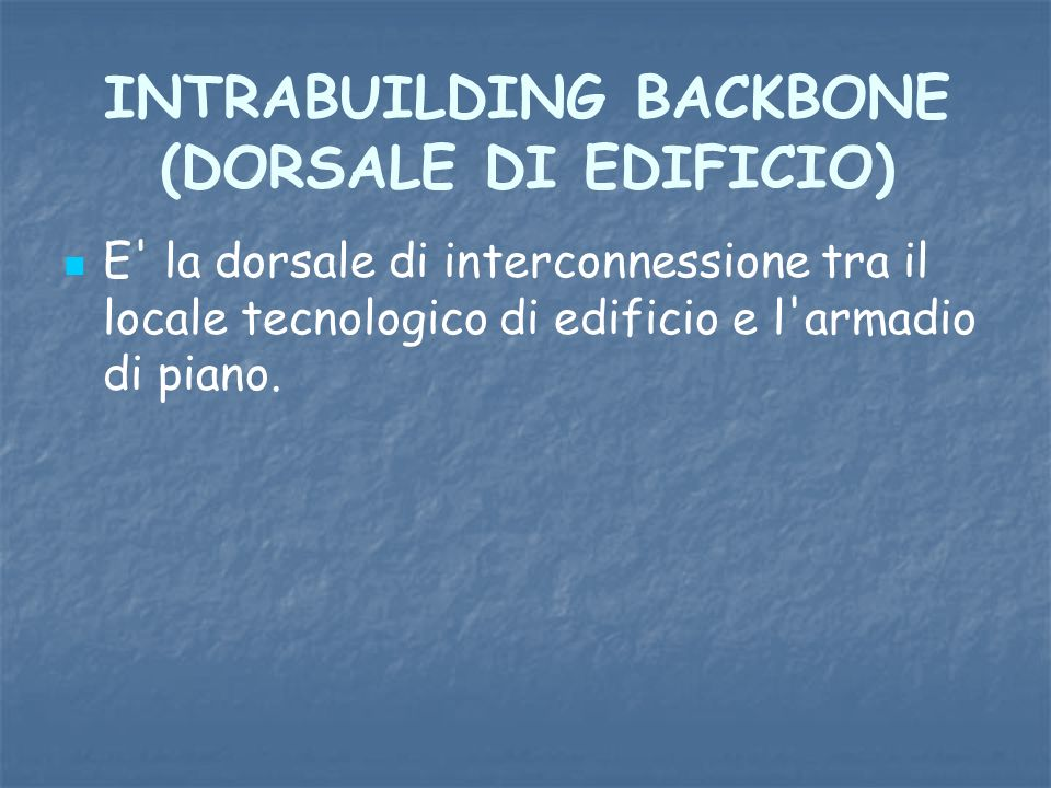 INTRABUILDING BACKBONE (DORSALE DI EDIFICIO)