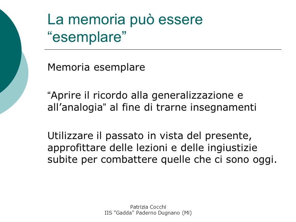 La memoria può essere esemplare