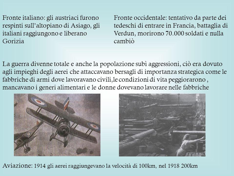 Fronte italiano: gli austriaci furono respinti sull'altopiano di Asiago, gli italiani raggiungono e liberano Gorizia