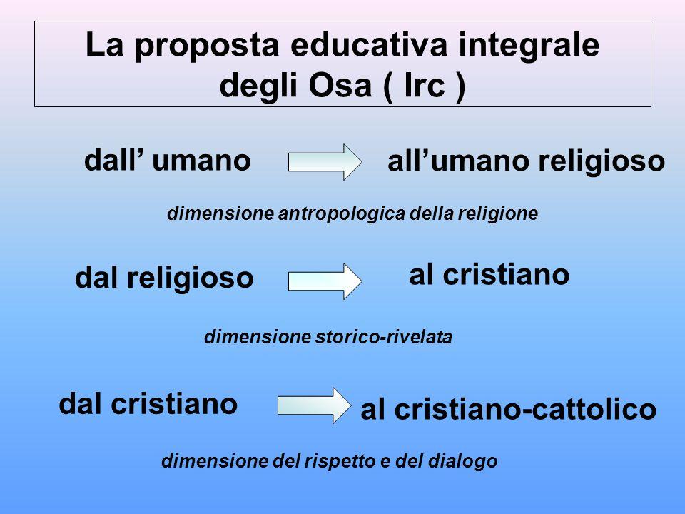 La proposta educativa integrale degli Osa ( Irc )