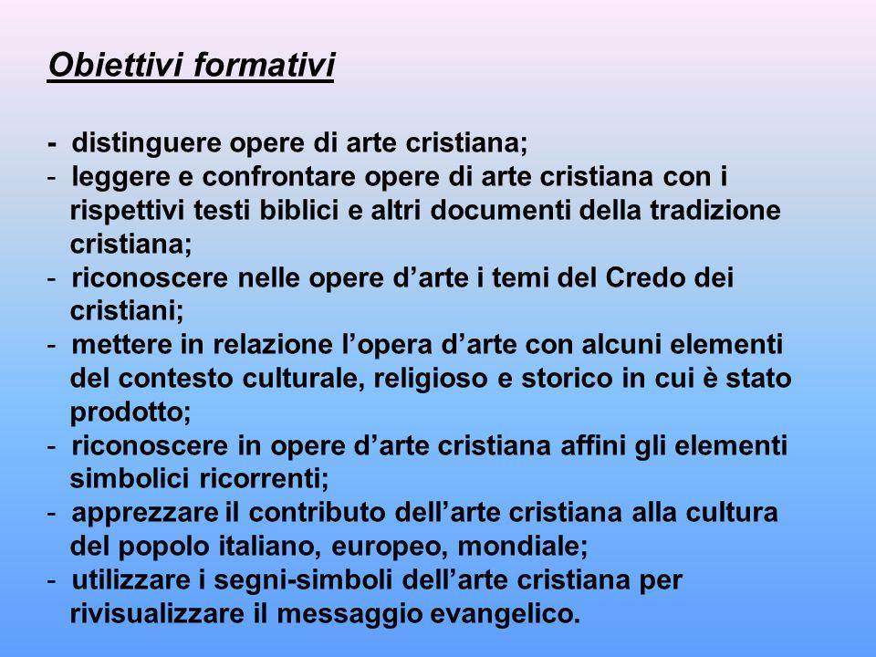 Obiettivi formativi - distinguere opere di arte cristiana;
