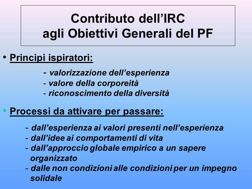 Contributo dell'IRC agli Obiettivi Generali del PF