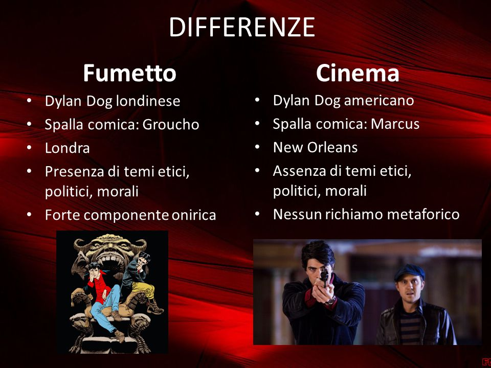 DIFFERENZE Fumetto Cinema Dylan Dog londinese Dylan Dog americano