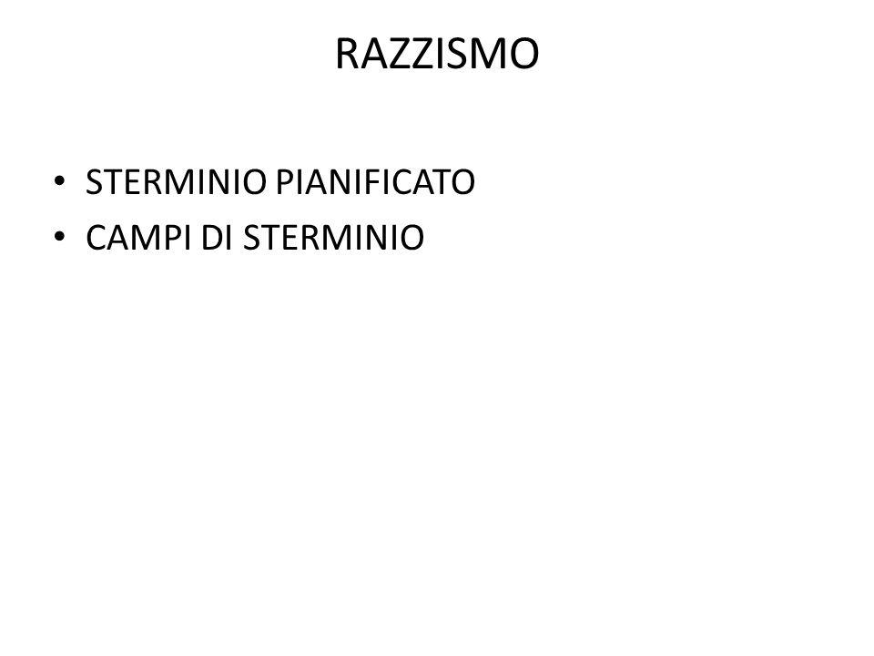 RAZZISMO STERMINIO PIANIFICATO CAMPI DI STERMINIO