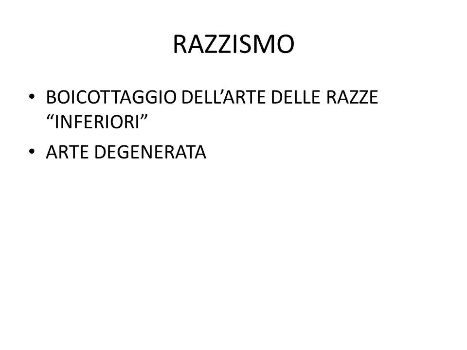 RAZZISMO BOICOTTAGGIO DELL'ARTE DELLE RAZZE INFERIORI