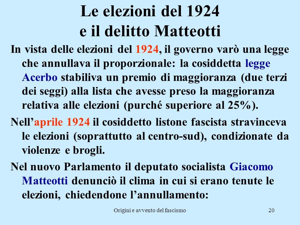 Le elezioni del 1924 e il delitto Matteotti