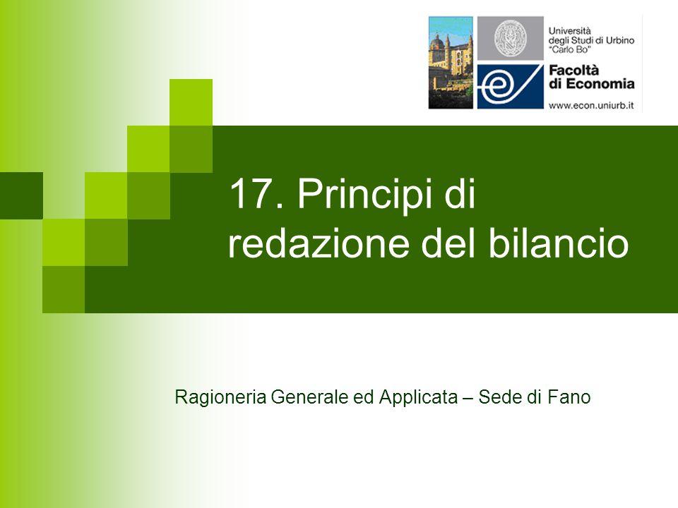 17. Principi di redazione del bilancio