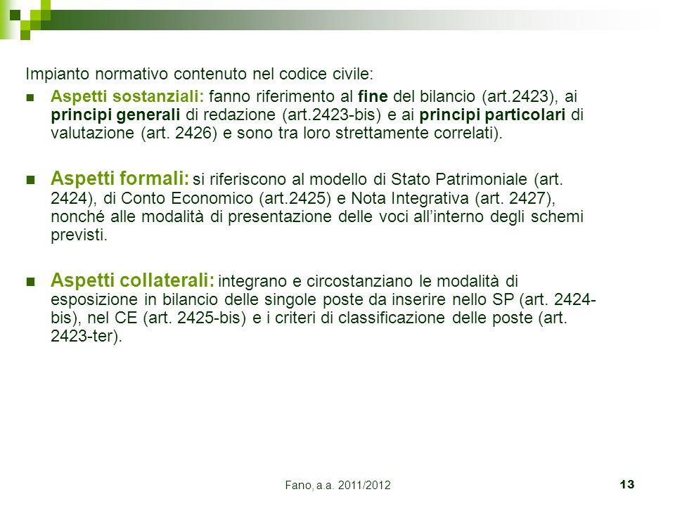 Impianto normativo contenuto nel codice civile: