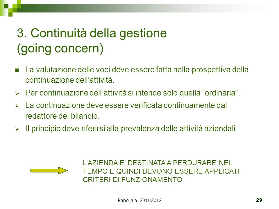 3. Continuità della gestione (going concern)