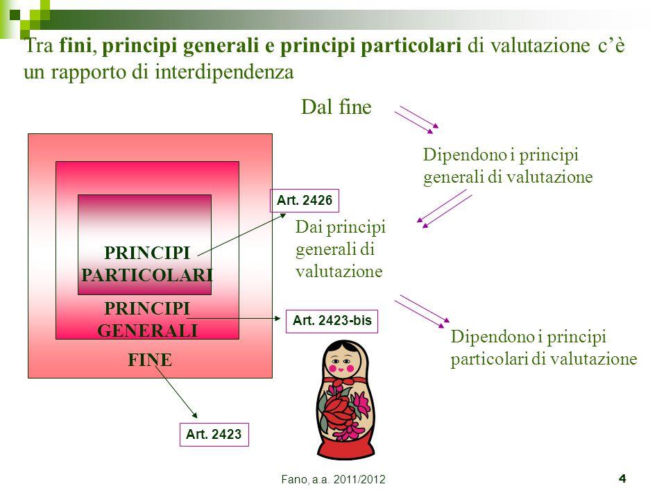 Tra fini, principi generali e principi particolari di valutazione c'è un rapporto di interdipendenza