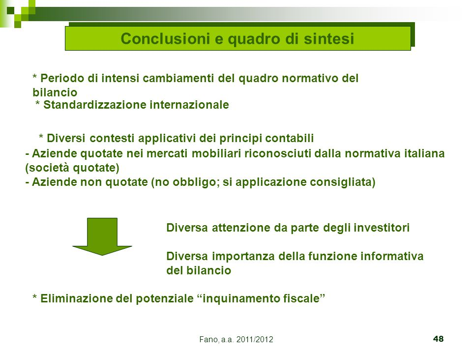 Conclusioni e quadro di sintesi