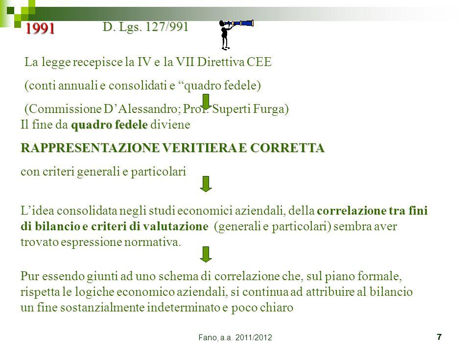 1991 D. Lgs. 127/991 La legge recepisce la IV e la VII Direttiva CEE