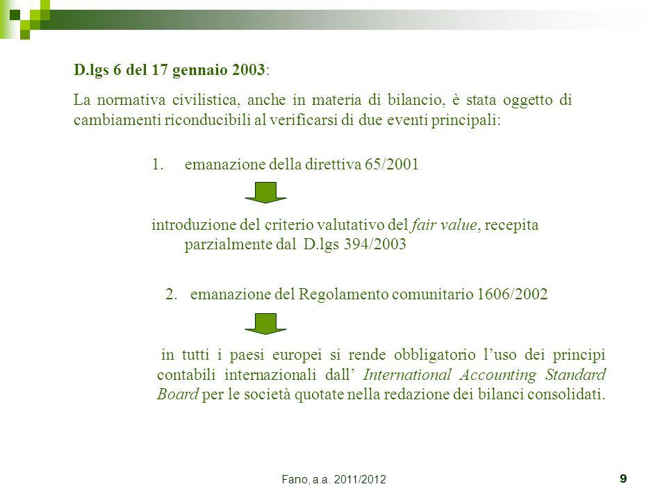 emanazione della direttiva 65/2001