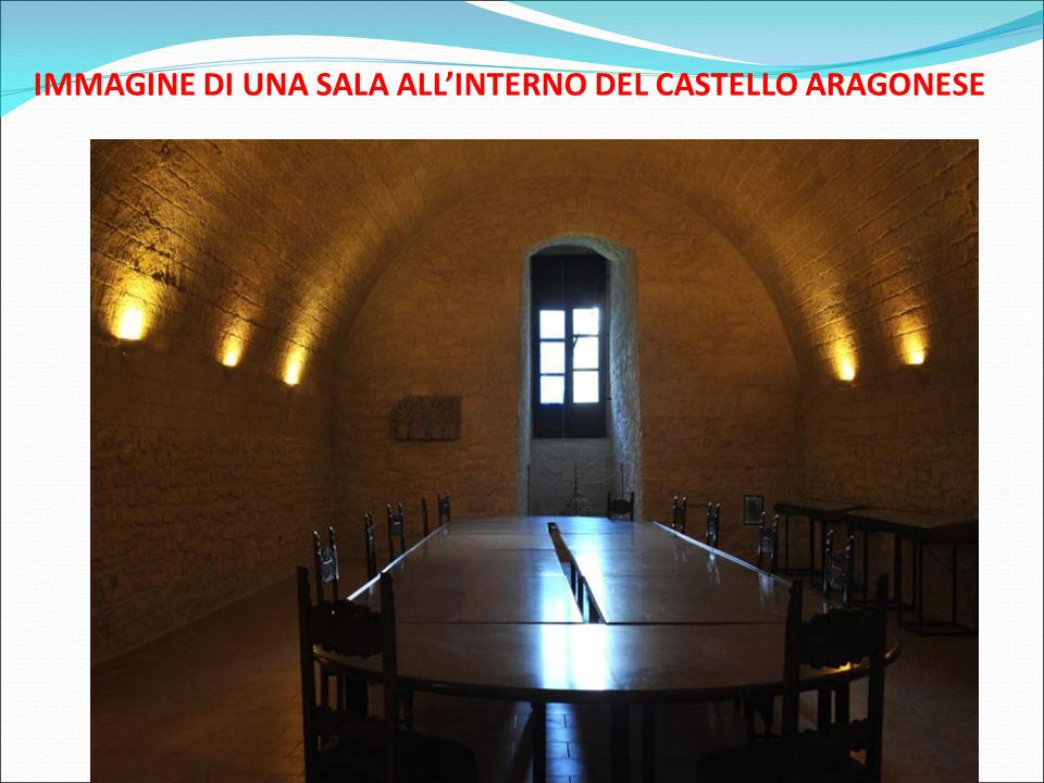 IMMAGINE DI UNA SALA ALL'INTERNO DEL CASTELLO ARAGONESE