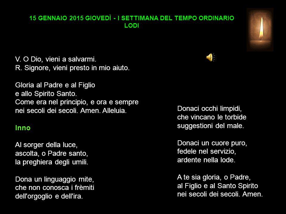 15 GENNAIO 2015 GIOVEDÌ - I SETTIMANA DEL TEMPO ORDINARIO LODI