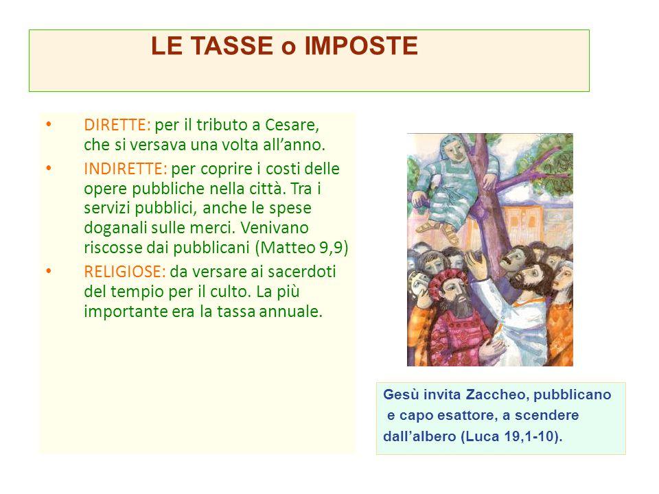 LE TASSE o IMPOSTE DIRETTE: per il tributo a Cesare, che si versava una volta all'anno.