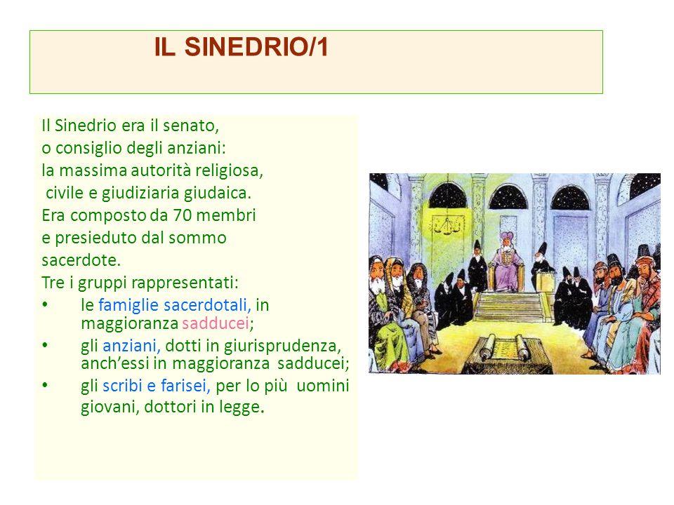 IL SINEDRIO/1 Il Sinedrio era il senato, o consiglio degli anziani: