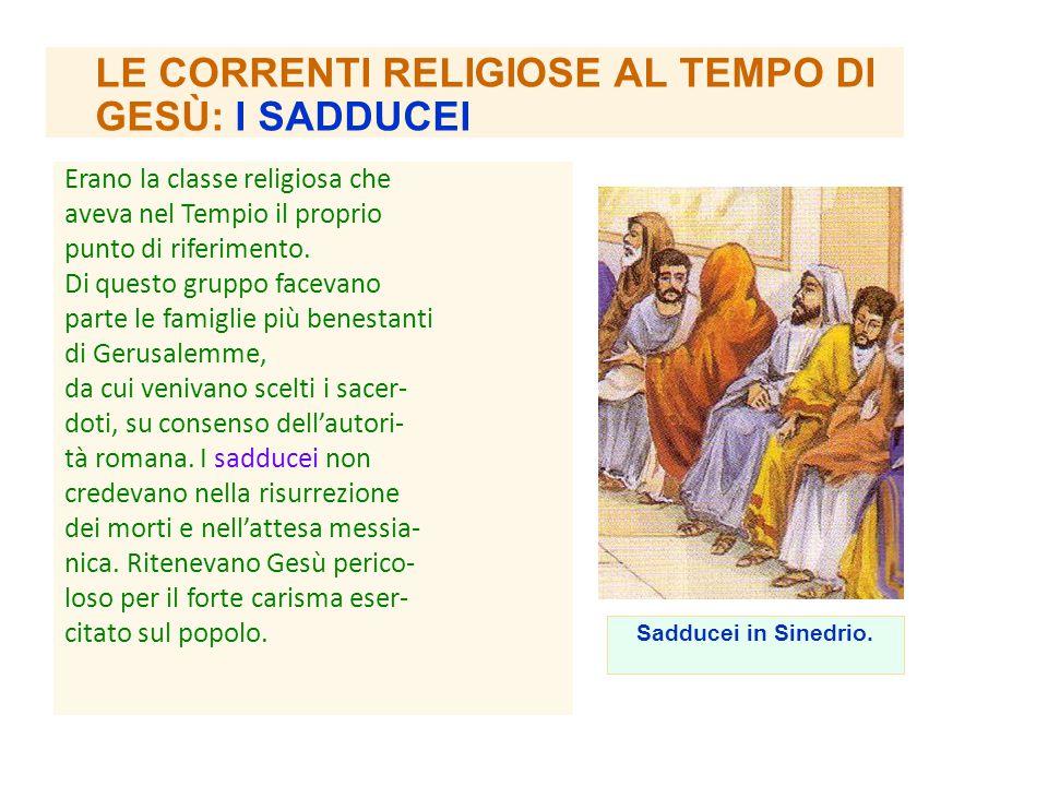 LE CORRENTI RELIGIOSE AL TEMPO DI GESÙ: I SADDUCEI