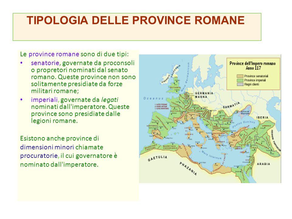 TIPOLOGIA DELLE PROVINCE ROMANE