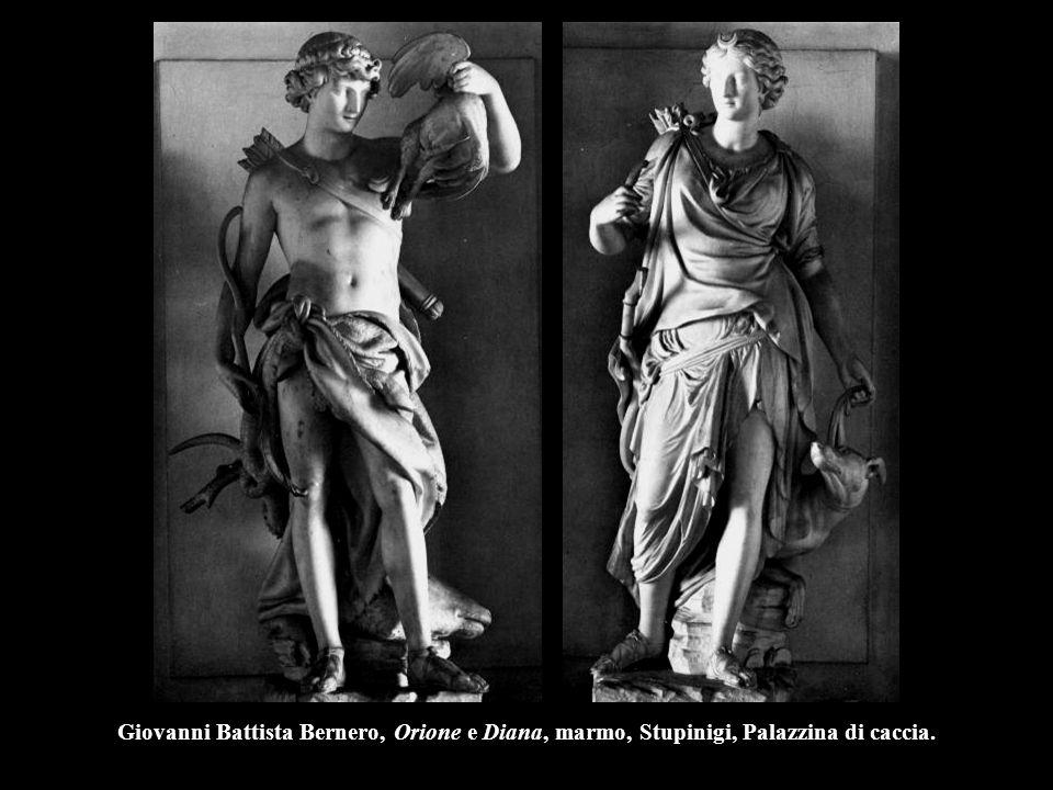 Giovanni Battista Bernero, Orione e Diana, marmo, Stupinigi, Palazzina di caccia.