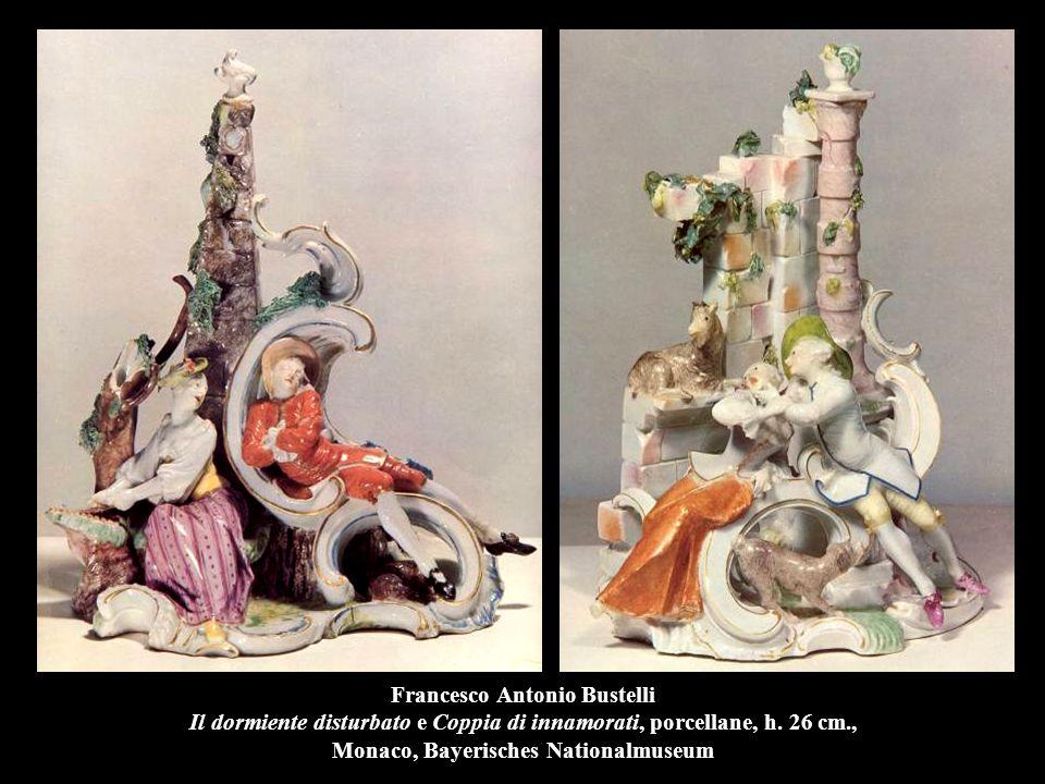 Francesco Antonio Bustelli Il dormiente disturbato e Coppia di innamorati, porcellane, h.