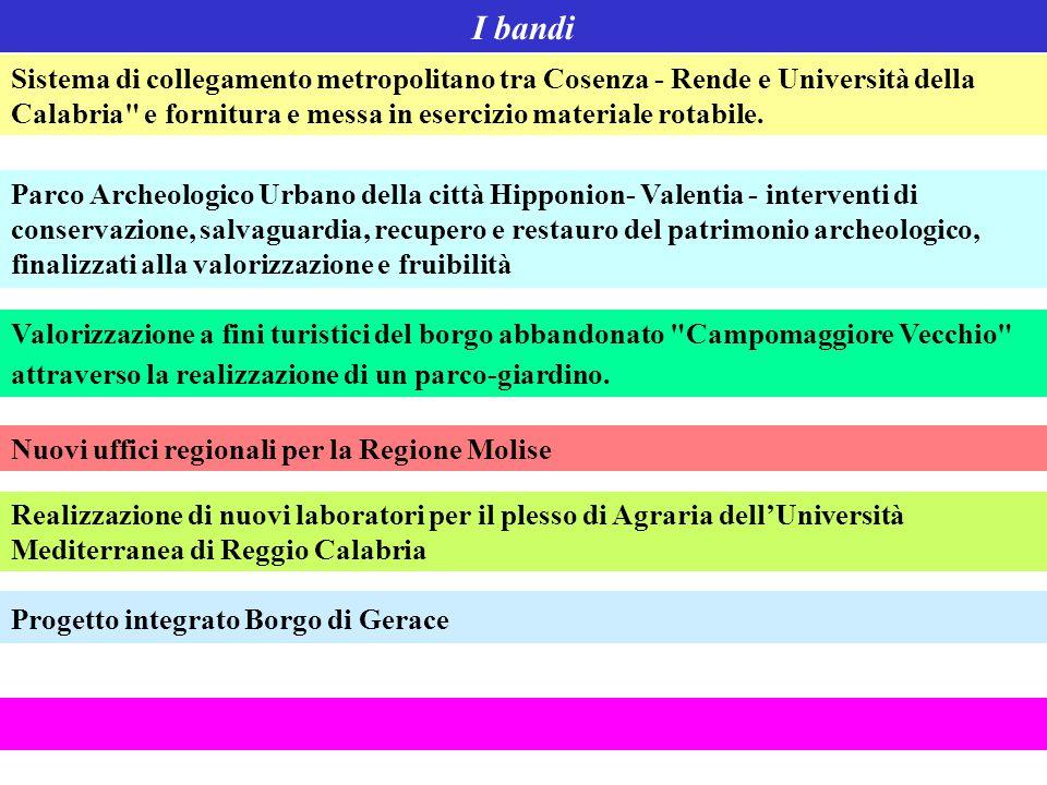 I bandi Sistema di collegamento metropolitano tra Cosenza - Rende e Università della Calabria e fornitura e messa in esercizio materiale rotabile.